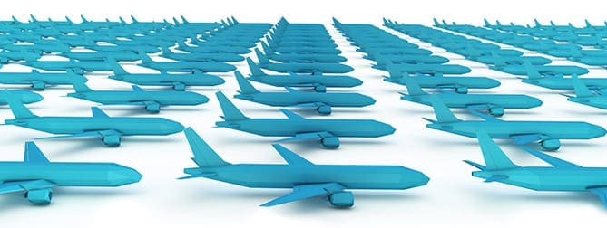 Airplanes lined up concept