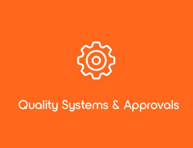 Quality Systems and Approvals White Gear Icon on Orange Background