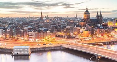 European Evening Cityscape Against Sunset