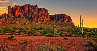 Desert Mountain Western View Sunset Lanscape