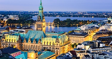Aerial view of City Hall Hamburg