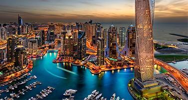 Dubai Marina Cityscape Nightlife